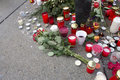 Roses and candles - Tribute to 1st czech president Stock Photos