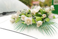 Roses on car bonnet decoratory white Stock Photo