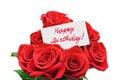 Roses and card Happy birthday Royalty Free Stock Photo