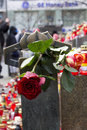 Roses on the corner of the Wenceslas monument Stock Photography