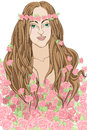 Roses fairy portrait of a young woman as a covered with hand drawn decorative illustration Royalty Free Stock Photography