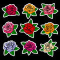 Roses fashion vector patches and stickers in nineties style design Royalty Free Stock Photo