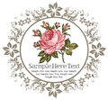 Roses. Floral. Wildflowers frame label card. Drawing, engraving. Vector victorian Illustration. Beautiful baroque flowers. Royalty Free Stock Photo