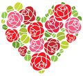 Roses flowers in heart shape ornament Royalty Free Stock Photos