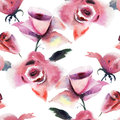 Roses flowers seamless wallpaper with Royalty Free Stock Images