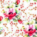 Roses flowers seamless wallpapers summer illustration of Stock Photo