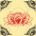 Roses and frame tattoo style design set oldskool elements vector for use Stock Images