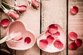 Roses and a hearts on wooden board, Valentines Day background Vi Royalty Free Stock Photo