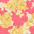 Roses hibiscus and butterflies beautiful natural seamless pattern with on a beige background Royalty Free Stock Photo