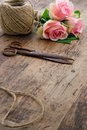 Roses with old rusty antique scissors bouquet of pink rose flowers and ball of brown twine Royalty Free Stock Image