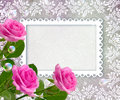 Roses and openwork frame Royalty Free Stock Photo