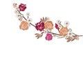 Roses and sakura flowers