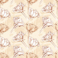 Roses seamless pattern neutral flower background Stock Photo
