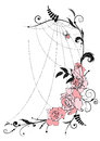 Roses and spiderweb vector illustration with flowers of Stock Image