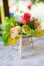 Roses on the table pick up by bicycle wedding Royalty Free Stock Photos