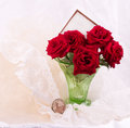 Roses in vase with banner add Stock Photography