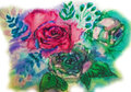 Roses watercolor hand-painted, frozen flower