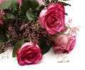 Roses and wedding rings Royalty Free Stock Photo