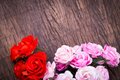 Roses on wooden table bouquet top Stock Photo