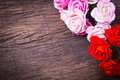 Roses on wooden table bouquet top Stock Images