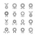 Rosette banner thin line icons. Vector award ribbons outline signs isolated on white background