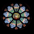 Rosette, geometric ornamental stained glass window, Church St. Lambertus, Mettmann, Germany