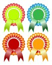 Rosette ribbon four realistic ribbons and other awards Royalty Free Stock Images