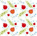 Rosh hashana pattern vector of pomegranate olive branch and peace dove eps Royalty Free Stock Photography