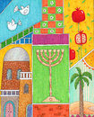 Rosh hashanah greeting whimsy illustration of jewish new year card Royalty Free Stock Photo