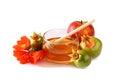 Rosh hashanah jewesh holiday concept honey apple and pomegranate isolated on white traditional holiday symbols Stock Photography