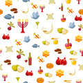 Rosh Hashanah, Shana Tova or Jewish New year seamless pattern, with honey, apple, fish, bottle, torah ,lettuce, date