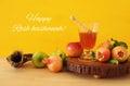 Rosh hashanah & x28;jewish New Year holiday& x29; concept. Traditional symbols