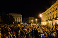 Rosia montana protest in bucharest romania thousands of romanians vehemently oppose the passing of the draft legislation on the Stock Photo