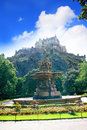 Ross fountain and edinburgh castle in scotland on summer day Royalty Free Stock Photo