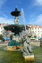 Rossio square lisbon portugal bronze fountain at in downtown Royalty Free Stock Images