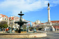 Rossio square lisbon portugal statue of dom pedro iv and bronze fountain at in downtown Stock Images