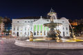 Rossio square pedro iv in the city of lisbon portugal Stock Photography