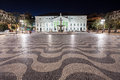 Rossio square pedro iv in the city of lisbon portugal Royalty Free Stock Photography