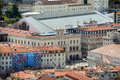Rossio train station lisbon portugal aerial view of at praça dos restauradores restauradores square from castle of são jorge Royalty Free Stock Photos