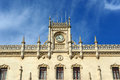 Rossio train station lisbon portugal clock tower of in old town is neo manueline building built in th century Royalty Free Stock Image
