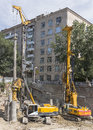 Rostov on don russia august pile drivers clog the pile on construction of house in Stock Photography