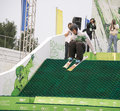 Rostov on don russia september the athlete jumps on a snowboard a holiday company megafon in Royalty Free Stock Images
