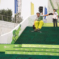 Rostov on don russia september the athlete jumps on a snowboard a holiday company megafon in Stock Photo