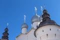 Rostov kremlin russia churches cupola bells towers of near yaroslavl Stock Image