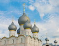 Rostov veliky silver domes and golden crosses of the assumption cathedral in Royalty Free Stock Photography