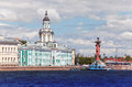 Rostral column and cabinet of curiosities russia petersburg spit vasilevsky island Royalty Free Stock Photo
