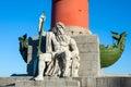 Rostral column with neptune statue vasilyevsky island st petersburg russia Royalty Free Stock Photos