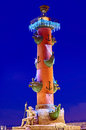 Rostral column in st petersburg russia on vasilievsky island with christmas illumination Royalty Free Stock Image