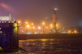 Rostral column view of saint petersburg from neva river russia Stock Photo