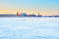 Rostral columns and spit of vasilyevsky island scenic view in st petersburg russia on a beautiful winter day at sunset Stock Images